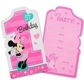 Disney Minnie Mouse 1e verjaardag uitnodigingen 8 st.
