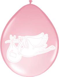 Geboorte meisje ballonnen ooievaar ø 30 cm. 8 st.