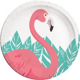 Flamingo bordjes ø 23 cm. 8 st.