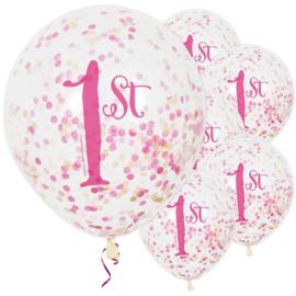 1st Birthday roze confetti ballonnen ø 30 cm. 6 st.