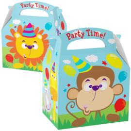 Jungle party box Party Time 15 x 10 x 10 cm. p/stuk