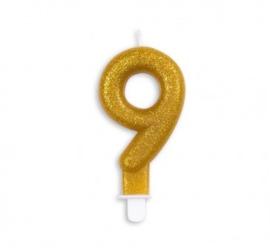 Taart kaars 9 jaar goud glitter 7 cm.