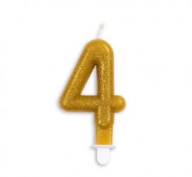 Taart kaars 4 jaar goud glitter 7 cm.