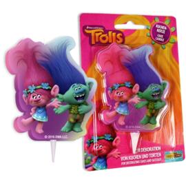 Trolls Poppy en Branch 2D verjaardag taart kaars 8 cm.