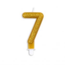 Taart kaars 7 jaar goud glitter 7 cm.
