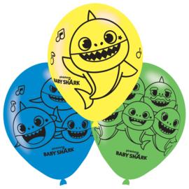 Baby Shark ballonnen ø 27,5 cm. 6 st.
