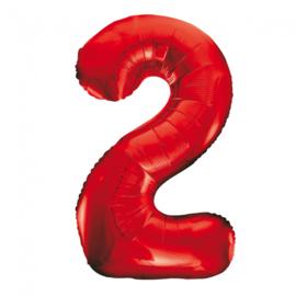 Folieballon cijfer 2 rood 86 cm.