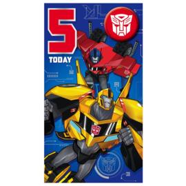 Transformers verjaardagskaart 5 jaar incl. button