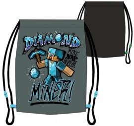 Minecraft gym- zwemtas Diamond Miner 32 x 36 cm.