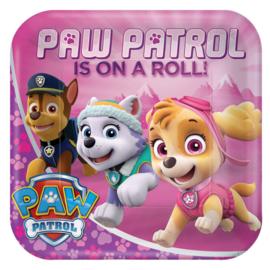 Paw Patrol Pink bordjes 22,9 cm. 8 st.