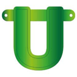 Banner letter U lime groen