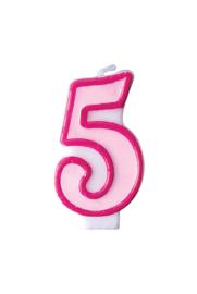 Taart kaars roze 5 jaar 7,5 cm.