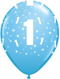 Leeftijd ballonnen stars licht blauw 1 jaar ø 28 cm. 6 st.
