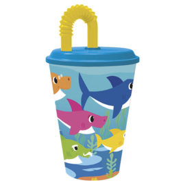 Baby Shark drinkbeker met rietje 350 ml.