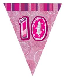 Vlaggenlijn pink glitter 10 jaar 2,74 mtr.
