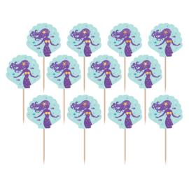 Zeemeermin cupcake prikkertjes Mermaid Wishes 24 st.