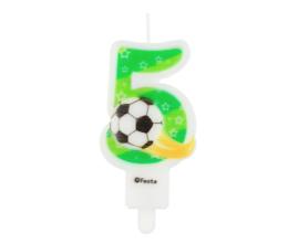 Voetbal taart kaars 5 jaar 8 cm.