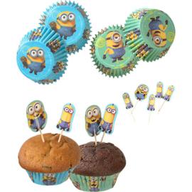 Minions cupcake vormpjes en prikkertjes set