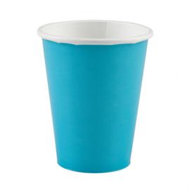 Turquoise wegwerp bekertjes 8 st.