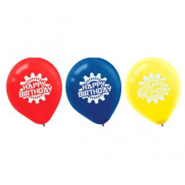 Robots ballonnen happy birthday ø 30,4 cm. 6 st.