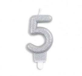 Taart kaars 5 jaar zilver glitter 7 cm.