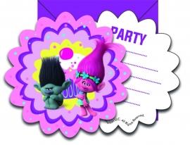 Trolls kinderverjaardag uitnodigingen 6 st.