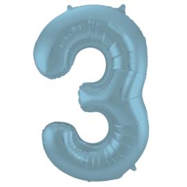 Folieballon cijfer 3 pastel blauw 86 cm.