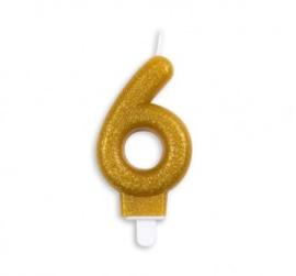 Taart kaars 6 jaar goud glitter 7 cm.