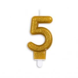 Taart kaars 5 jaar goud glitter 7 cm.