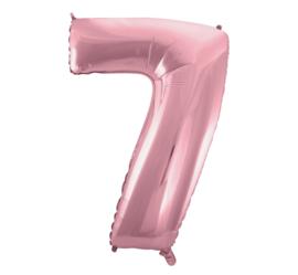 Folieballon cijfer 7 roze 92 cm.