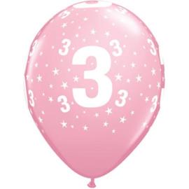 Leeftijd ballonnen 3 jaar roze ø 28 cm. 6 st.