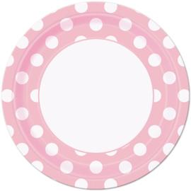 Roze met witte stippen bordjes ø 21,9 cm. 8 st.