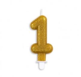 Taart kaars 1 jaar goud glitter 7 cm.