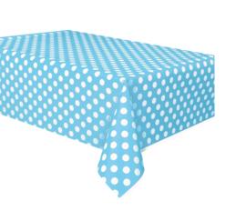 Licht blauw met witte stippen tafelkleed 1,37 x 2,74 mtr.