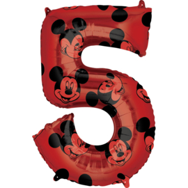 Disney Mickey Mouse folieballon 5 jaar 66 cm.