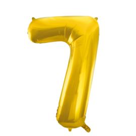 Folieballon cijfer 7 goud 86 cm.