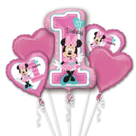 Disney Minnie Mouse 1st Birthday folieballonnen boeket 5-delig