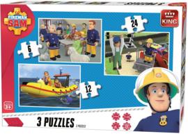 Brandweerman Sam puzzel 3-in-1 puzzel 6-12-24 stukjes