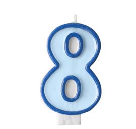Taart kaars blauw 8 jaar 7,5 cm.