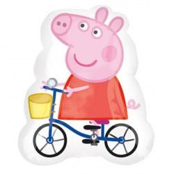 Peppa Pig folieballon fiets XL 47 x 57 cm.