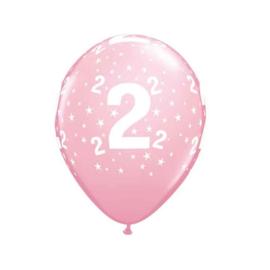 Leeftijd ballonnen 2 jaar roze ø 28 cm. 6 st.