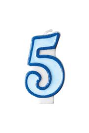 Taart kaars blauw 5 jaar 7,5 cm.