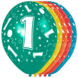 Ballonnen 1 jaar assorti ø 30 cm. 5 st.