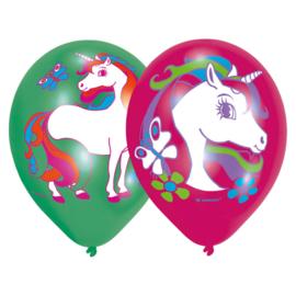 Eenhoorn full color ballonnen ø 28 cm. 6 st.