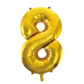 Folieballon cijfer 8 goud 86 cm.