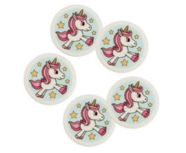 Unicorn fondant cupcake decoratie ø 4 cm. 9 st.