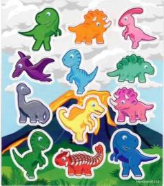 Dinosaurus stickervel 11,5 x 10 cm.