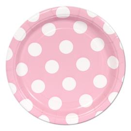 Roze met witte stippen gebakbordjes ø 17,1 cm. 8 st.