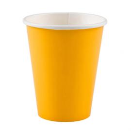 Gele wegwerp bekertjes 8 st.
