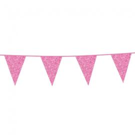 Vlaggenlijn glitter roze 6 mtr.